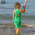 Olá Desfrutar de férias vestido da menina de verão 2016 roupa dos miúdos roupas de Marca verde praia sem encosto Vestido crianças roupas 2-6a