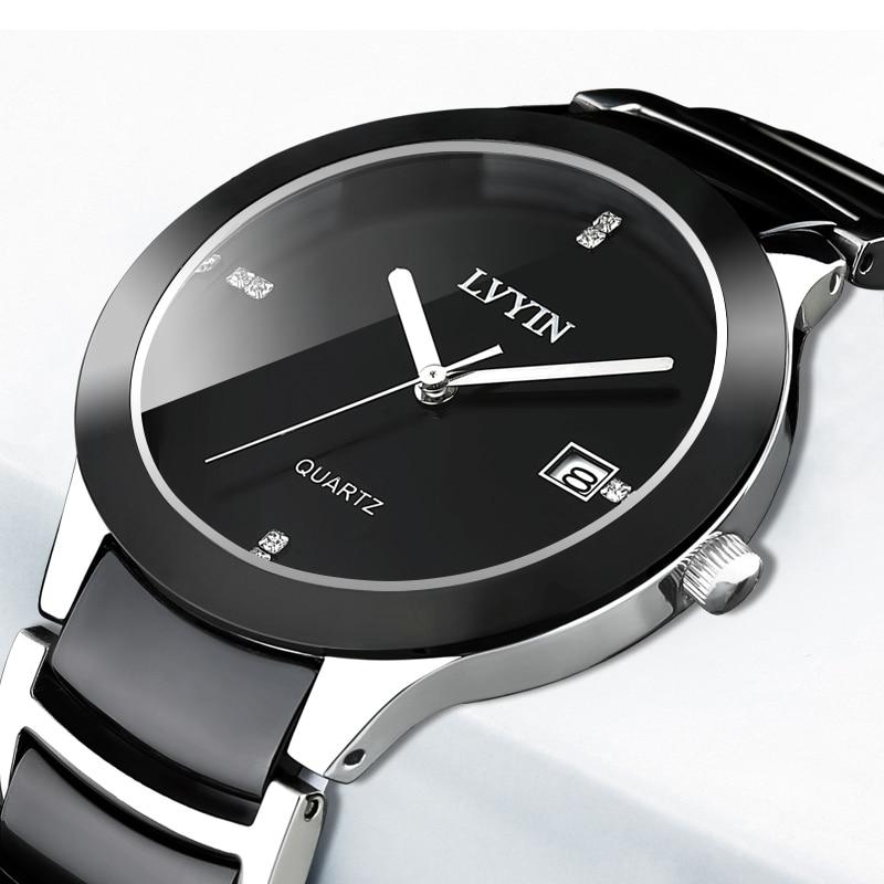 Ceramic Men Top Brand Luxury Quartz Watch Fashion Sport Waterproof Date Casual Wrist Watch Relogio Masculino
