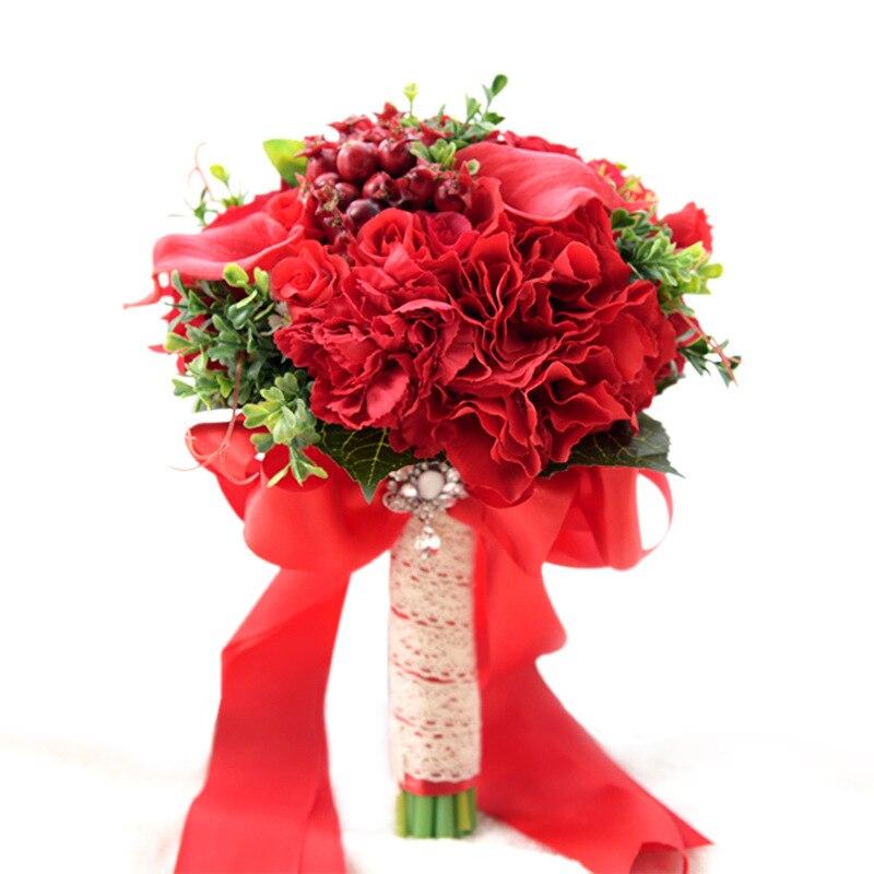 Bouquets de mariage rouge décorations de mariage fleurs Roses Calla lys mariage Bouquet de mariée avec des baies ramo de novia para boda