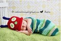 2pcs INS baby set handmade worm shape lovely Clothes knitting infant caterpillar sleeping bag props