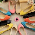 New Pointy Flats, European style candy color PU shallow mouth single shoes free shipping