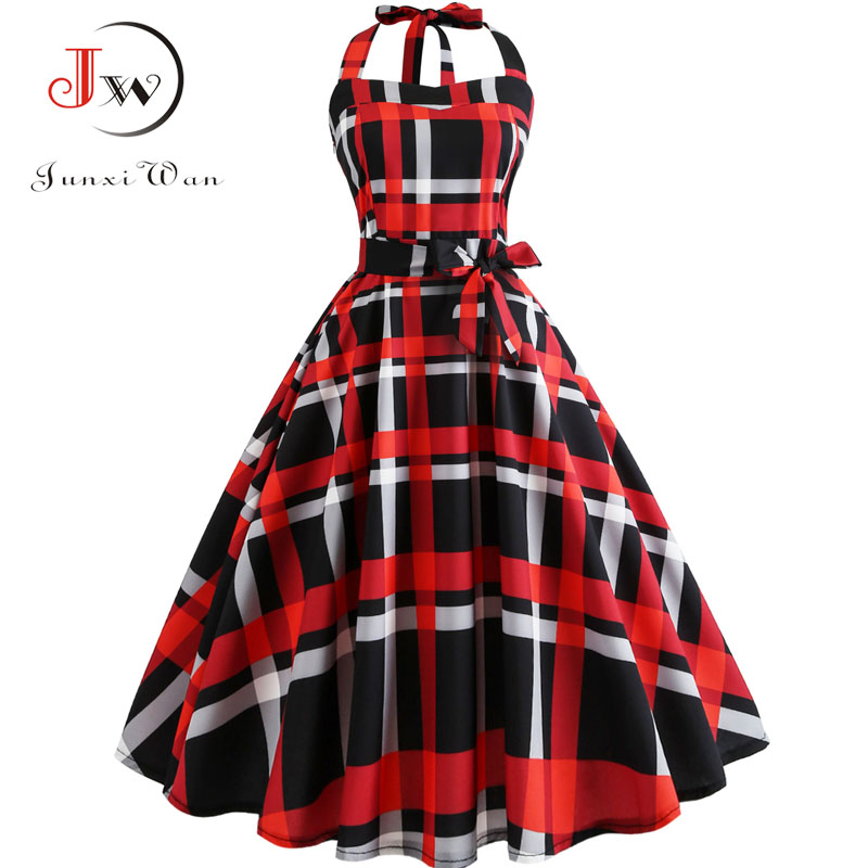 Plaid Print Halter Strapless Women Dress  Summer Sexy Backless Party Dresses Ladies Elegant Vintage Rockabilly Vestido 1