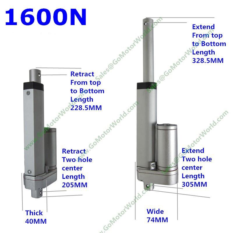 12V 24V 100mm 4inch Adjustable Stroke 1600N 160KG Load 160mm/s Speed Industry Linear Actuator Manufacturer LA10M