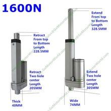 12 В 24 в 100 мм 4 дюйма регулируемый ход 1600N 160 кг нагрузка 160 мм/сек. скорость промышленности линейный привод производитель LA10M