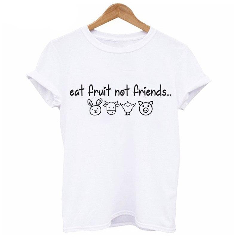 Eat Fruit Not Friends Happy Piglet T-shirt Women Clothing Kawaii Tshirt Cute Pig and Animal Printed Short Sleeve Female T Shirt 1