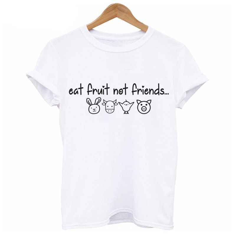 Eat Fruit Not Friends Happy Piglet T-shirt Women Clothing Kawaii Tshirt Cute Pig and Animal Printed Short Sleeve Female T Shirt