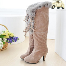 2015 new style sweet women winter boots lace up rabbit fur warm lady snow boots cotton padded plush winter pumps female botas