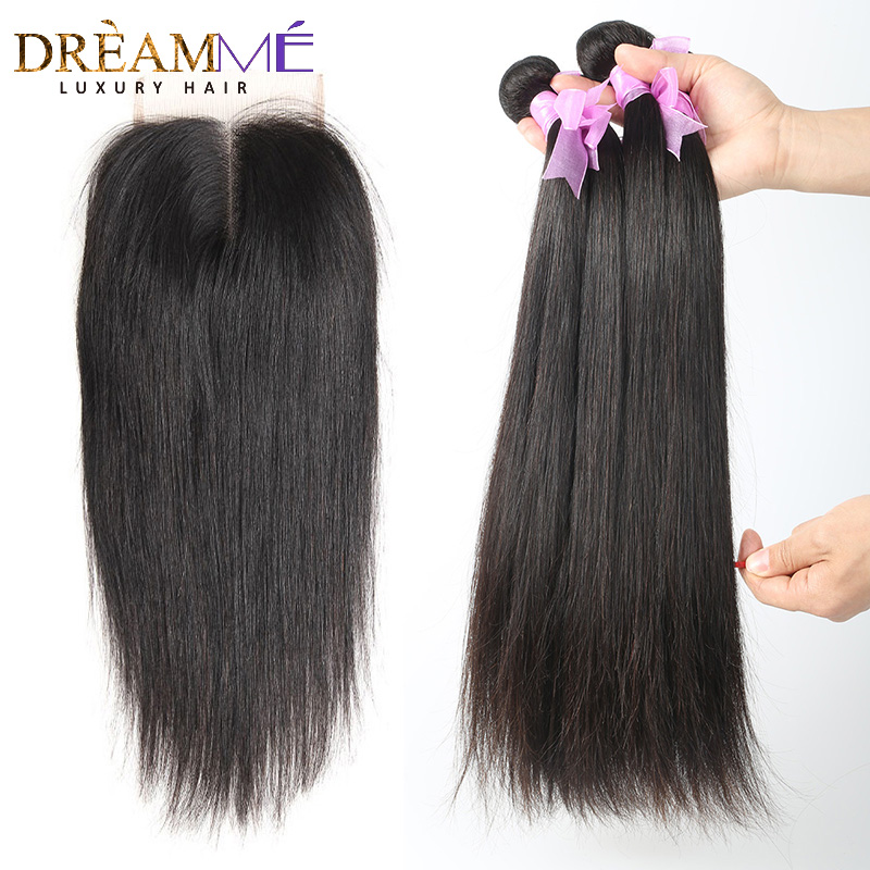 Brazilian Straight Human Hair 3 bundles Weaves with 4x4 Lace Closure - Human Hair (For Black)