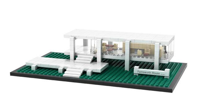 HOT 386 Unids Farnsworth House Minibloque World Famous Architecture Series Bloques de Construcción de Los Juguetes Clásicos para Niños