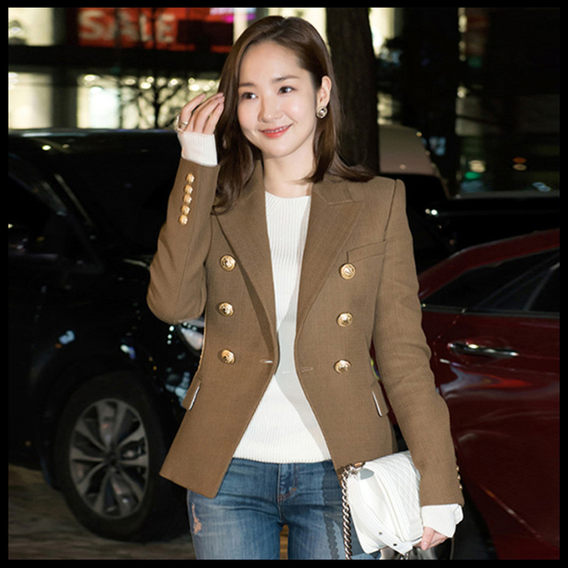 HIGH QUALITY Newest Fashion 2017 Designer Jacket Blazer Women's Long Sleeve Double Breasted Gold Buttons Blazer