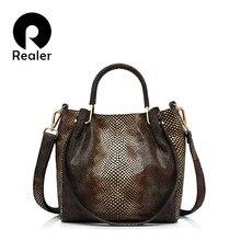 c099c0247a70 Realer Брендовые женские Натуральная кожа Сумочка Повседневная сумка  женский золотой узор кожи питона сумка сумки(
