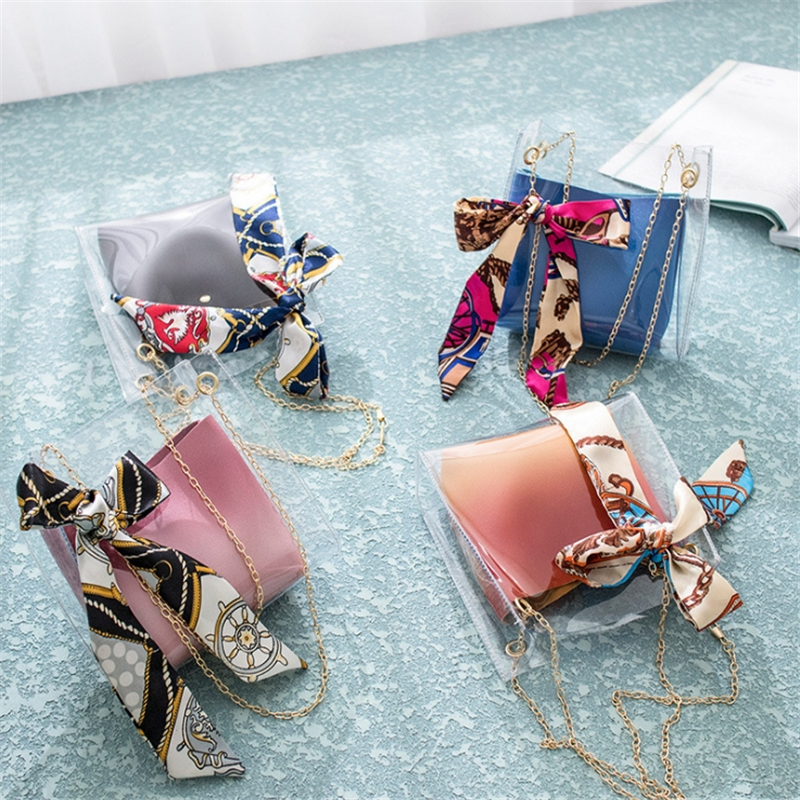 Bags For Women 2019 Crossbody Transparent Bag Scarf Chain Jelly Package Ladies Purses And Handbags Fashion Women Messenger Bag in Shoulder Bags from Luggage Bags