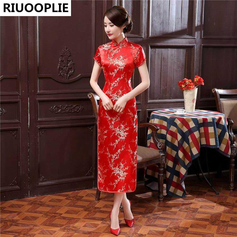 RIUOOPLIE Kinesisk stil kjole kvinner Long Cheongsam Elegant Slim - Nasjonale klær - Bilde 5