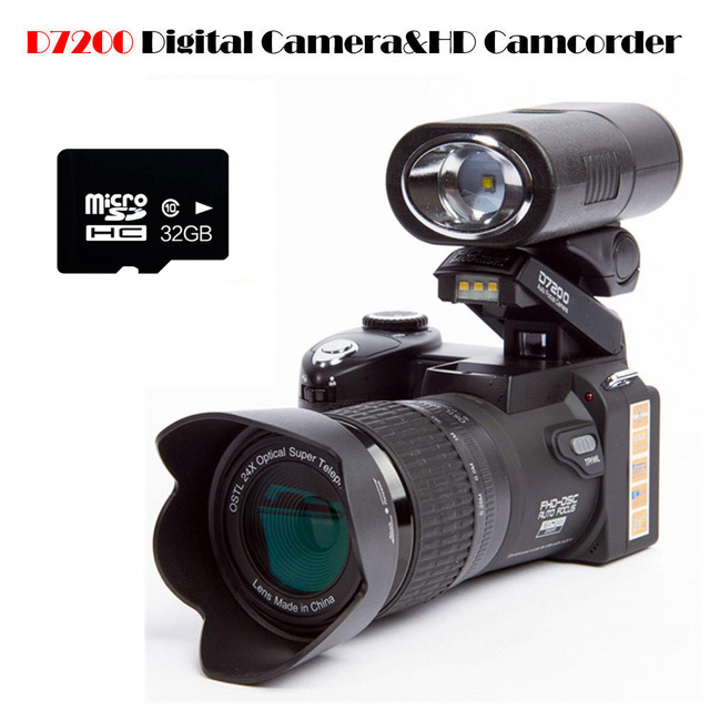 "POLO D7200 Digital Camera 16MP 3.0"" 1080P HD Camcorder 24X Optical Zoom Telephoto Lens Wide Angle Lens Video Camera Professional"
