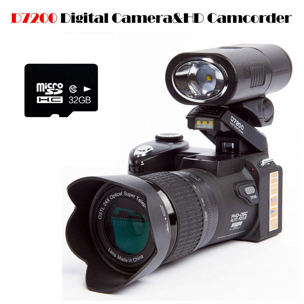 """POLO D7200 Digital Camera 16MP 3.0"""" 1080P HD Camcorder 24X Optical Zoom Telephoto Lens Wide Angle Lens Video Camera Professional"""