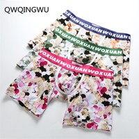 3PCS Sexy Men Underwear Boxer Shorts Homme Flower Low Waist Panties Man U Convex Pouch Underpants cueca calzoncillos Boxers