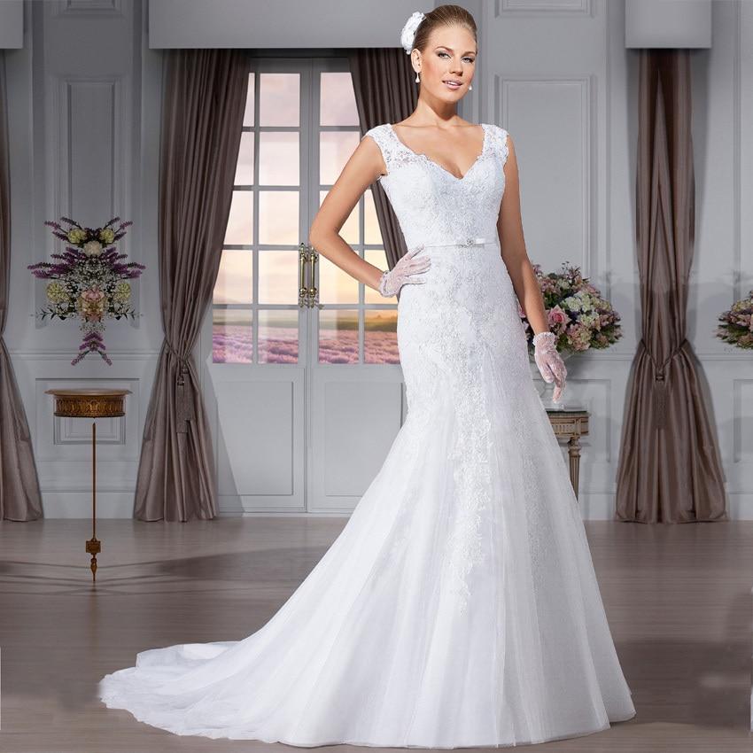 Vestido De Noiva Sereia 2016 Hot Sale Wedding Dresses Elegant Vestido De Noiva Mermaid Lace V Neck Wedding Dress Cap Sleeve