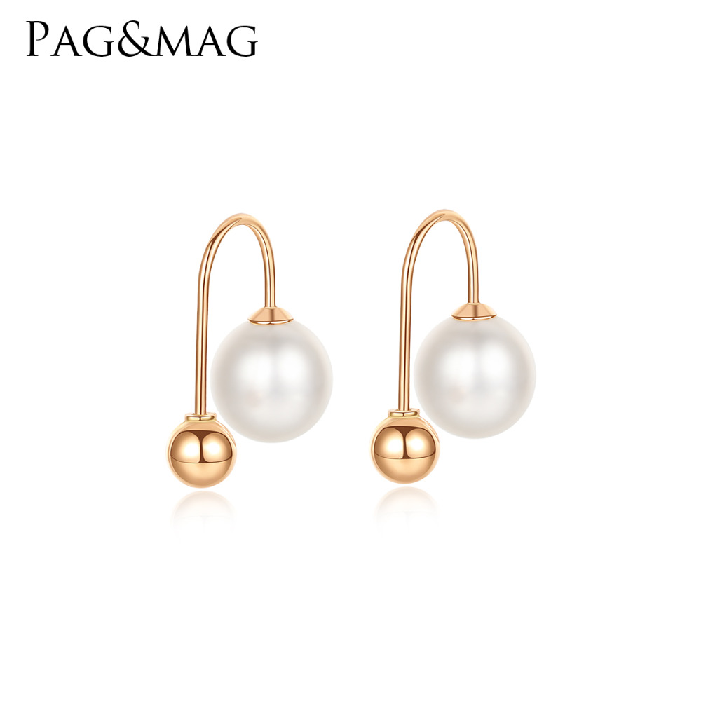 PAG MAG 18K Yellow Gold 6 7mm Natural Round Pearl Drop Earrings for Women 2 Colors
