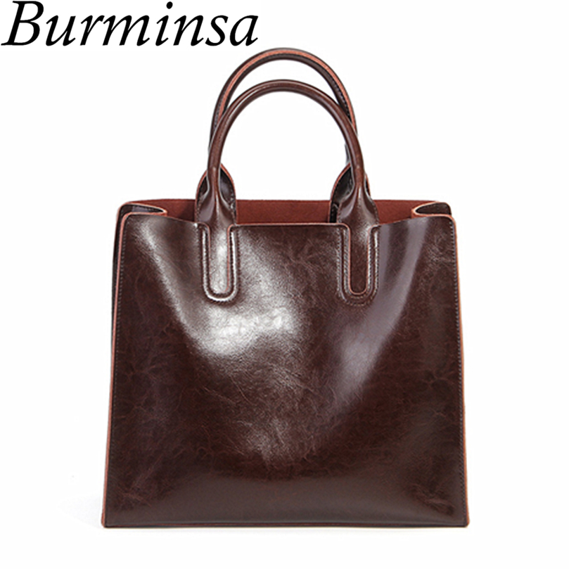 Burminsa Brand Real Leather Handbags Ladies Genuine Leather Tote Hand Bags Female Designer Shopper Shoulder Bags For Women 2017
