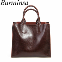 Burminsa Brand Real Leather Handbags Ladies Genuine Leather Tote Hand Bags Female Designer Shopper Shoulder Bags