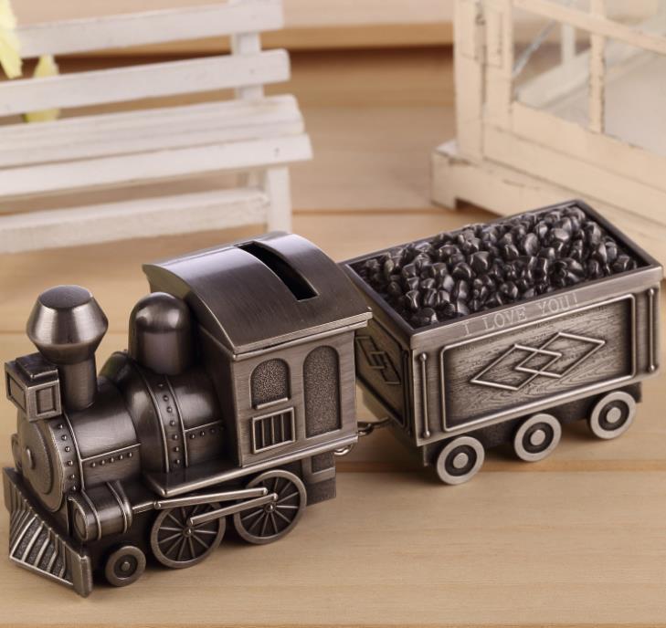 Vintage Piggy Bank Locomotive Loco Railway Alloy Owl Money Box Train Engraving Kids Birthday Party Gift Favors
