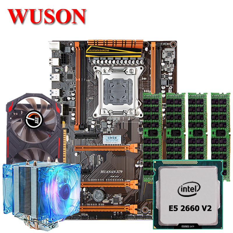 Discount Motherboard Set HUANAN ZHI Deluxe X79 Gaming Motherboard With M.2 CPU Xeon E5 2660 V2 RAM 32G RECC GTX750 2G Video Card