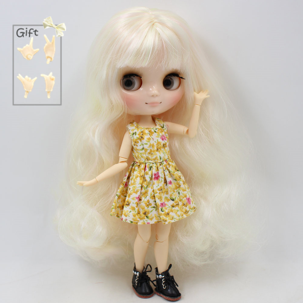 Nude Factory Middie Blyth doll Series No BL6025 1017 Golden mix Pink hair with bangs Transparent