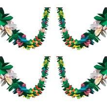 3 м ткани Цветочная Гирлянда Гавайи фестиваль красочные Бумага баннер кокосовое листья овсянка гирлянда декорация в гавайском стиле Вечерн...