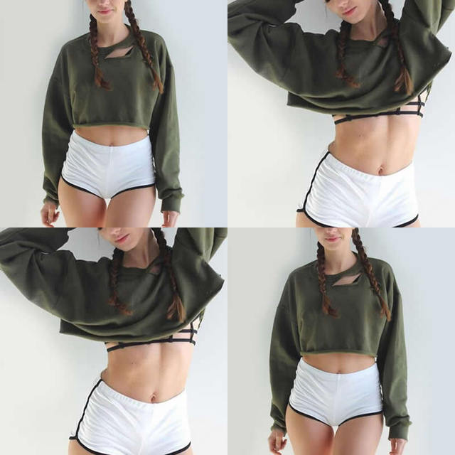Sexy Short Sweatshirt Long Sleeve Holes Hollow Out Loose Polerones Mujer Midriff Women army green Sweatershirt Crop Tops