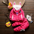 New Baby Girls Clothes Winter Cartoon Sweatershirts Kids Warm Clothing Sets Vest+shirt+pants Three-piece Suit V-0509