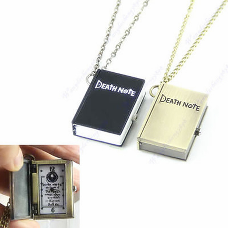 kids toys anime action figure quartz watch Black Anime Death Note with necklace or keychain Pocket Watch For coser cospaly tool death note book hot fashion anime theme death note cosplay notebook new school large writing journal 20 5cm 14 5cm