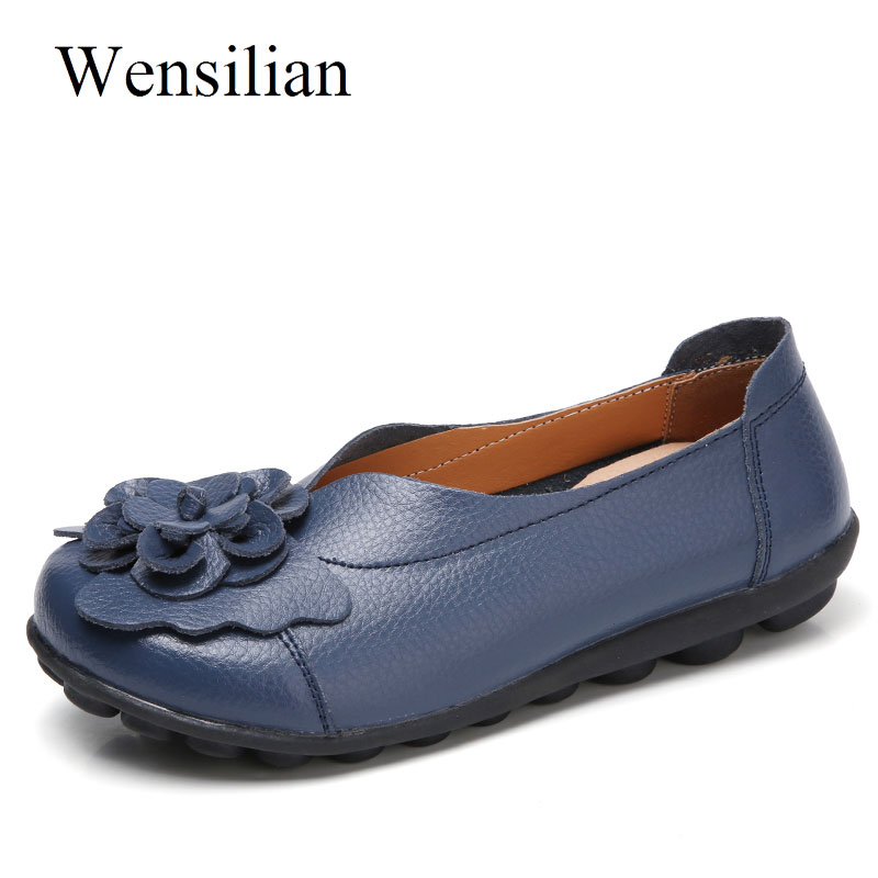 Summer Ballet Flat Shoes Women Genuine Leather Shoes Flower Soft Anti Slip Flats Slip On Round Toe Casual Loafer Mocasines Mujer instantarts women flats emoji face smile pattern summer air mesh beach flat shoes for youth girls mujer casual light sneakers