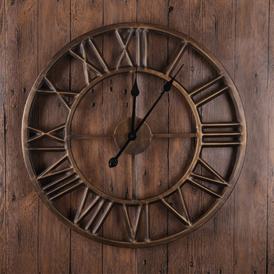 Large Metal Wall Clock Modern Design European Retro Style