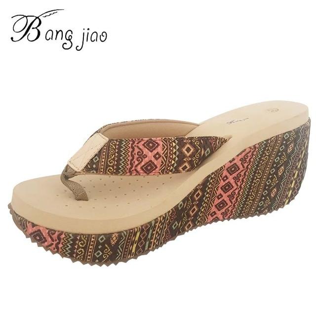 9e9fe082749020 Ethnic Style 2018 Arrive High quality Ultra High Heels Beach Slippers Summer  7.5 CM Wedges Platform Flip Flops Women Shoes