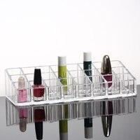 透明口紅デスク トップ化粧品収納ボックス 24 グリッド長い 21.6 センチ幅9 センチ高さ 5 センチ プラスチック収納ボックス