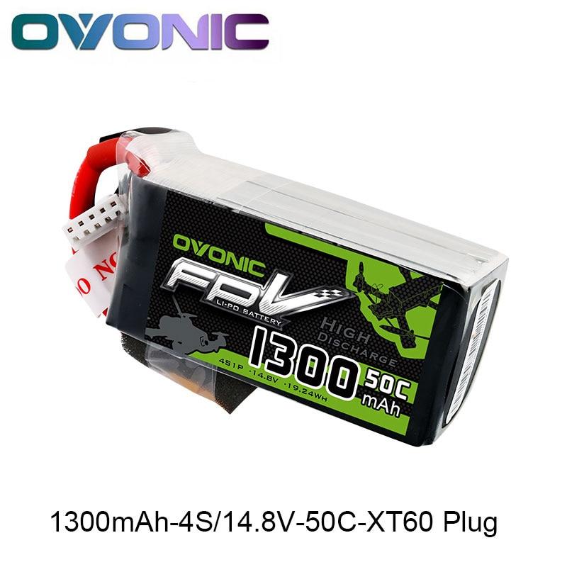 OVONIQUE 1300 mah 50C Max 100C Lipo 4S 14.8 v Batterie avec XT60 Plug pour 240 FPV Cadre RC Drone heli Quad Bateau De Voiture