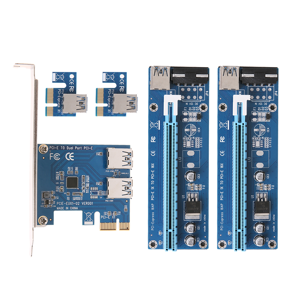 New PCI-e to Dual USB 3.0 Converter Card and Dual PCI-e Slot 4Pin Adapter Card with SATA 15Pin-4Pin Power Cable for Mining BTC