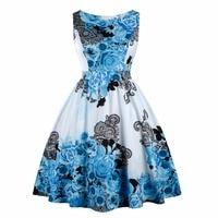 Donne Dress Retro 50 s 60 s Vintage Pin Up Rockabilly Swing Vestidos Feminino Motivo Floreale Senza Maniche Abiti Da Festa Con arco 3XL