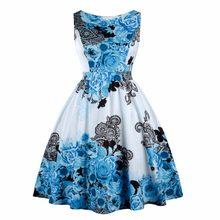 c70676d3e8ddc1 Vrouwen Retro Jurk 50 s 60 s Vintage Pin Up Rockabilly Swing Feminino  Vestidos Bloemen Patroon