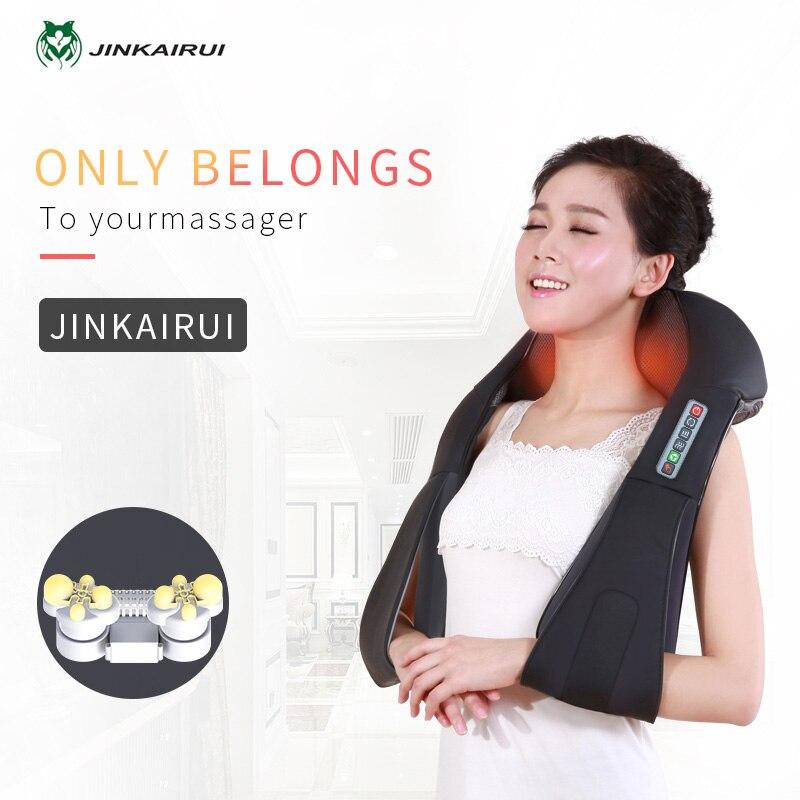 Jinkairui Elektrische Neck Schulter Zurück Körper Massager Shiatsu Kneten Infrarot Beheizten Massage Auto Hause Masaj Gerät mit Box