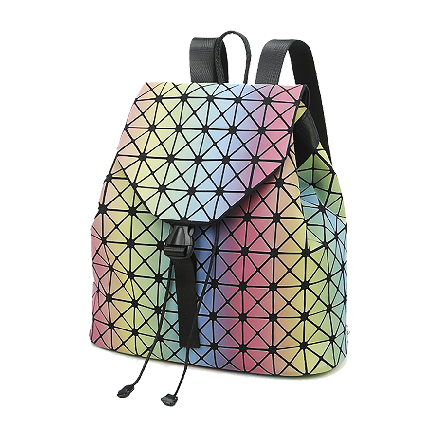 ФОТО 2017 New Rainbow Women Holographic Backpack Ladies Foldable Hologram Backpack Funny Plaid Backpacks For Teenage Girls E011