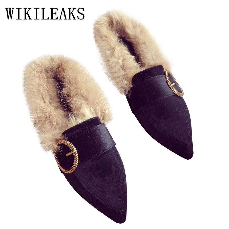 ladies shoes woman pointed toe flats designer shoes women luxury 2017 fur moccasins mules zapatillas mujer casual slides green new designer women fur flats luxury brand slip on loafers zapatillas mujer casual ladies shoes pointed toe sapato feminino black