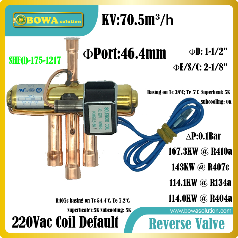 167KW(R410a) 4-way Reverse valves is suitable for 54TR cooling capacity refrigeration equipments or air condtioner systems high quality one way check valves for r404a r134a r22 for lbp mbp cooling refrigeration system