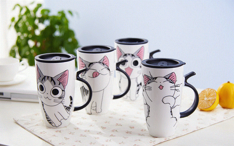 4 pieces cat mug table