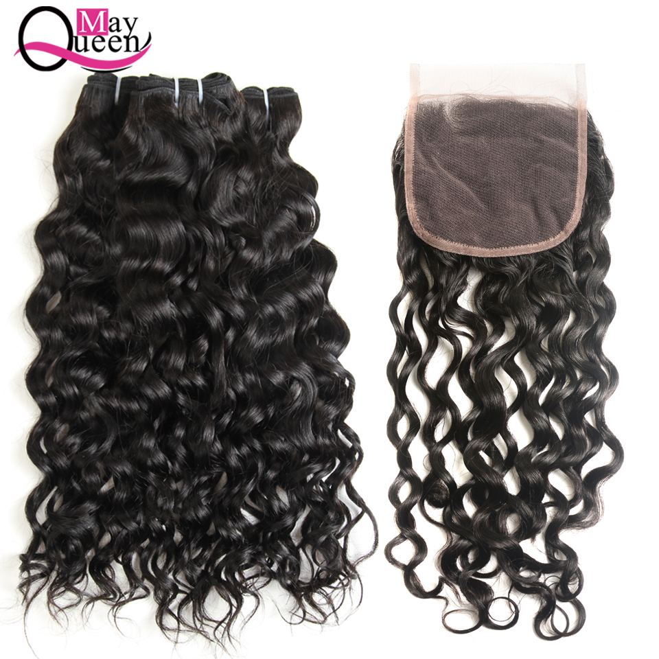 May Queen Water Wave Human Hair Bundles 4*4 Lace Closure Free Part Brazilian Hair Bundles Natural Color Non Remy Hair Extension