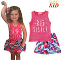 Big Sister Baby Girls 2PCS Clothing Sets Hot Pink Vest+Flower Short Dress Summer Girls Clothes Beach Dresses KC134
