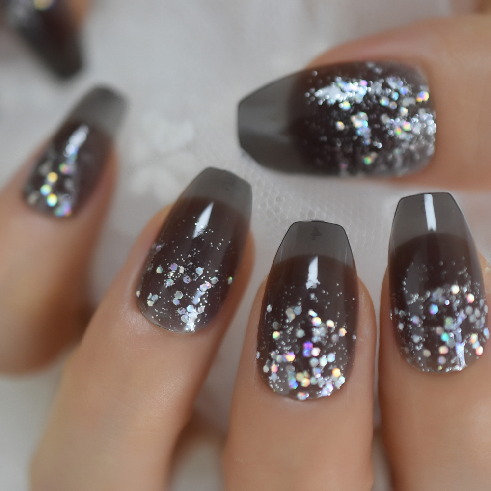 Clear Jelly Coffin <font><b>Nails</b></font> Transparent Grey Glitter Powder Pre-<font><b>designed</b></font> <font><b>False</b></font> <font><b>Nails</b></font> <font><b>Medium</b></font> Size Manicure Tips image