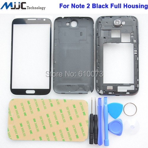 Black Full Housing Case Middle Frame+Battery Cover+Glass Lens For Samsung Galaxy Note II 2 GT-N7100 N7100 Full Housing +Tools+3M