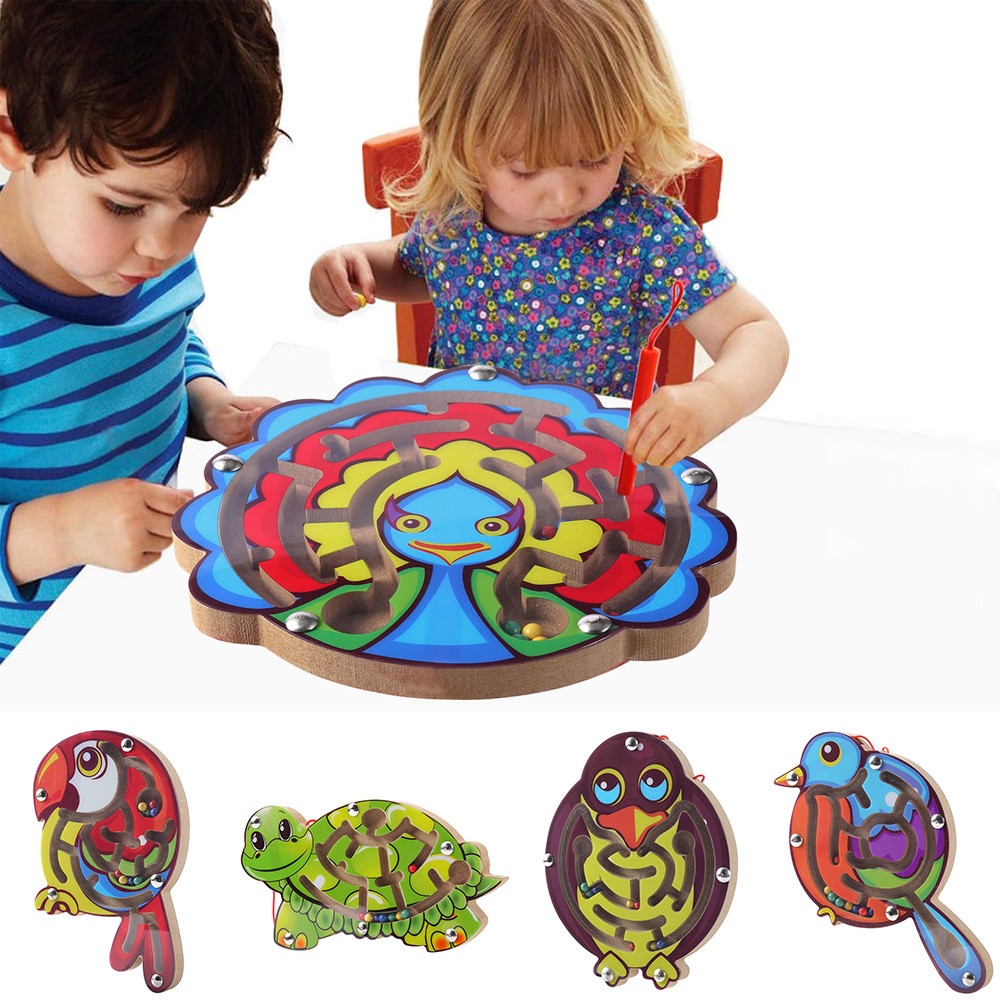 Children Magnetic Maze Toy Kids Wooden Animal Puzzle Game Toy Early Educational Brain Teaser Toy Intellectual Jigsaw Board
