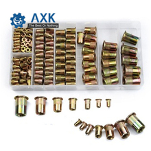 120Pcs/set M4 M5 M6 M8 M10 Zinc Plated Knurled Rivnut Flat Head Threaded Rivet Wood Insert Cap Furniture Nut Assortment Kit